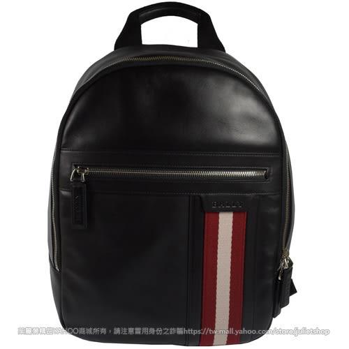 茱麗葉精品 全新精品 BALLY 6214255 都會質感全皮革雙色織帶時尚後背包.黑