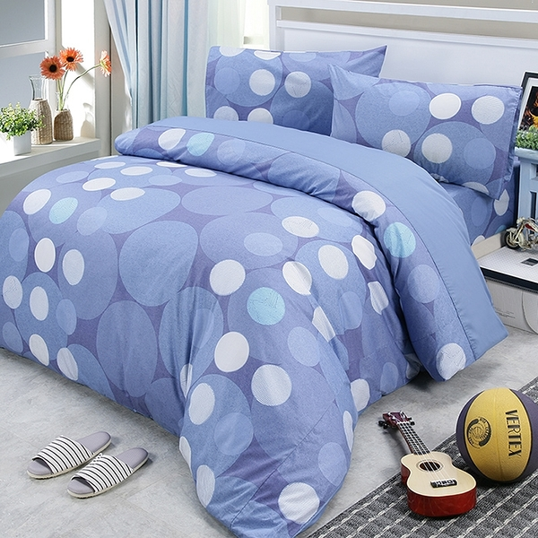 【Victoria】單人三件式純棉被套床包組-藍點_TRP多利寶