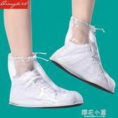 時尚透明雨鞋女士中高筒雨靴 防滑加厚水鞋短筒低幫成人水靴鞋套『櫻花小屋』