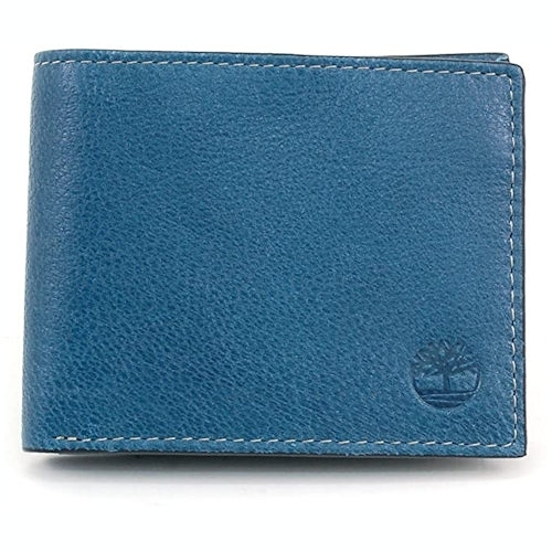 Timberland-時尚雙折皮革皮夾(藍色)