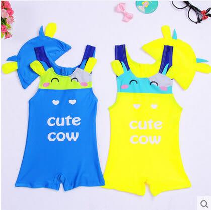 韓國可愛卡通兒童連體游泳衣嬰兒小孩平角泳褲泳帽男女童寶寶泳裝