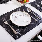 北歐大理石紋皮革西餐墊家用 隔熱防燙防水防油 長方形餐具套裝   美斯特精品