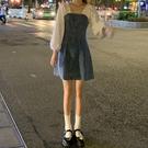 假兩件連身裙 假兩件方領牛仔裙2020新款秋季裙子氣質A字裙顯瘦收腰連身裙女裝 萬聖節狂歡