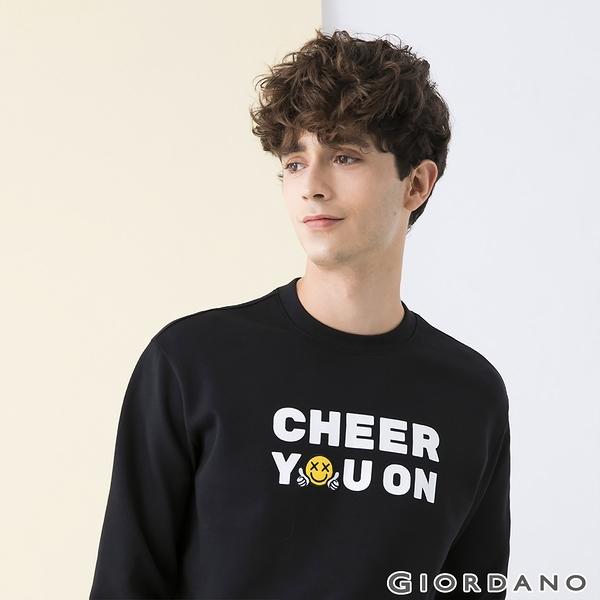 【GIORDANO】 男裝CHEER YOU ON大學T恤 - 11 標誌黑