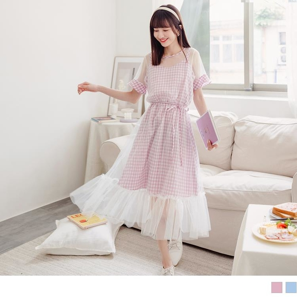 《DA8805-》甜美格紋假兩件拼接透膚網紗洋裝 OB嚴選