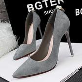 韓版優雅細跟高跟鞋子 絨面淺口尖頭鞋《小師妹》sm522