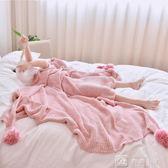 手工流蘇全棉毛線毯子拍照道具毛球球純棉針織休閒膝蓋毯空調毛毯 igo 娜娜小屋
