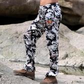 釣魚褲夏季男女迷彩冰絲超薄透氣防蚊蟲釣魚登山徒步運動褲防曬褲 小明同學