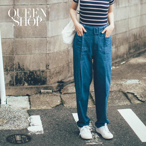 Queen Shop【04011349】附腰帶口袋打折設計牛仔寬褲*現+預*
