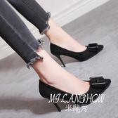 韓版尖頭高跟鞋鞋時尚百搭絨面性感淺口細跟單鞋