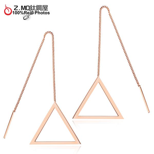 316L鈦鋼打造 三角形垂墜造型耳環 女孩甜美風格 典雅設計 見面禮物 一對價【EKS335】Z.MO鈦鋼屋