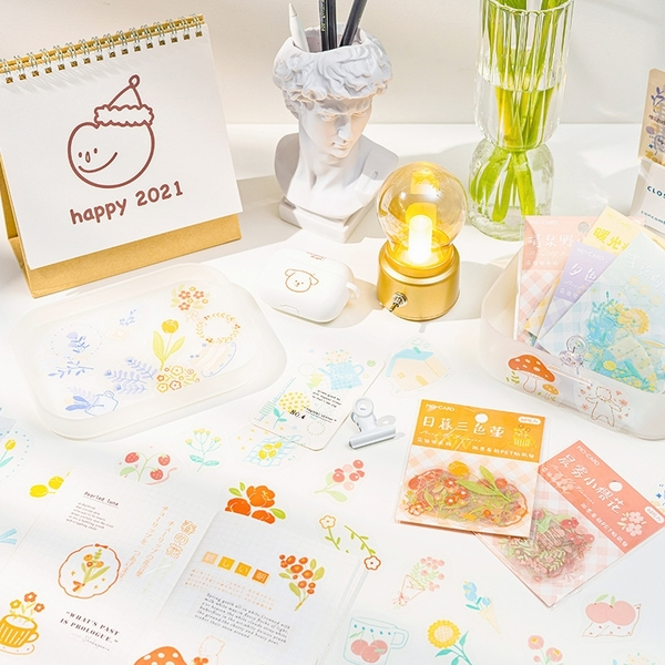 【BlueCat】花語說系列貼紙包 (40入) 手帳 裝飾 貼紙 異形貼紙 透明貼紙 PET貼紙