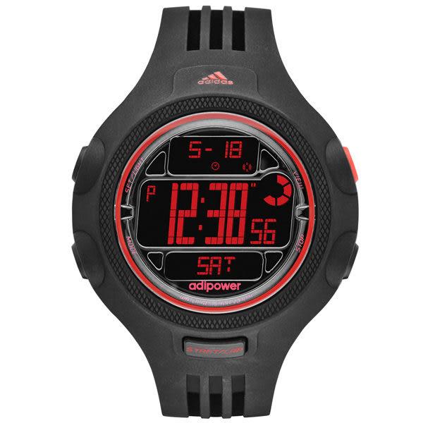 adidas 勁戰狙擊大面板金屬電子錶-紅x黑