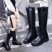中筒靴 不過膝長筒靴女加絨馬丁平底中筒女鞋高筒騎士靴 格蘭小舖