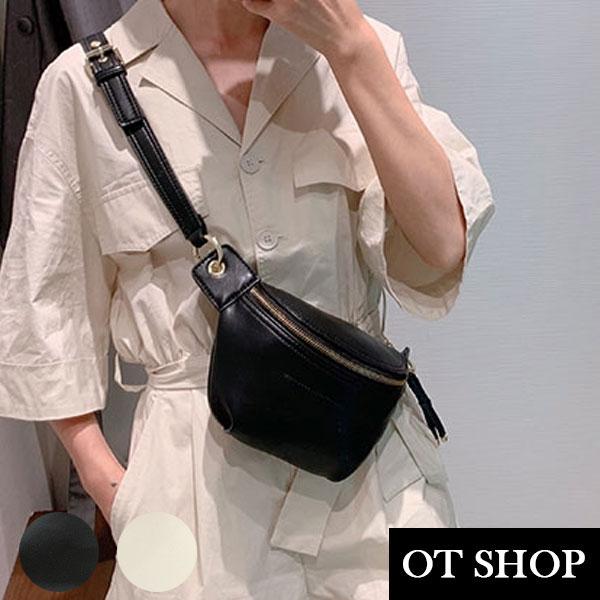 [現貨]  側肩背 斜肩背 腰包 胸包 造型拉鍊頭 鍊帶 復古文青純色質感皮革 黑/白色 H2019 OT SHOP