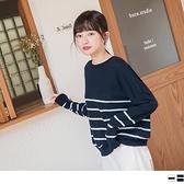 《FA0909-》橫條紋寬鬆落肩高含棉針織上衣.2色 OB嚴選