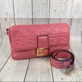 BRAND楓月 FENDI 芬迪 大 粉紅 BAGUETTE  法棍包 斜背包 手提包