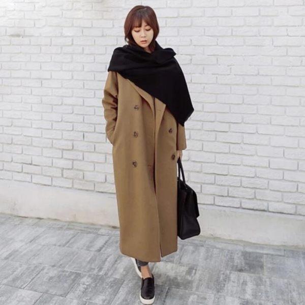 毛呢 外套 韓版 雙排扣 長款 寬鬆 直筒 大衣 花漾小姐【現貨】