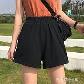 超火cec運動短褲女2020夏高腰休閒韓版寬鬆闊腿熱褲黑色蹦迪褲子 探索先鋒