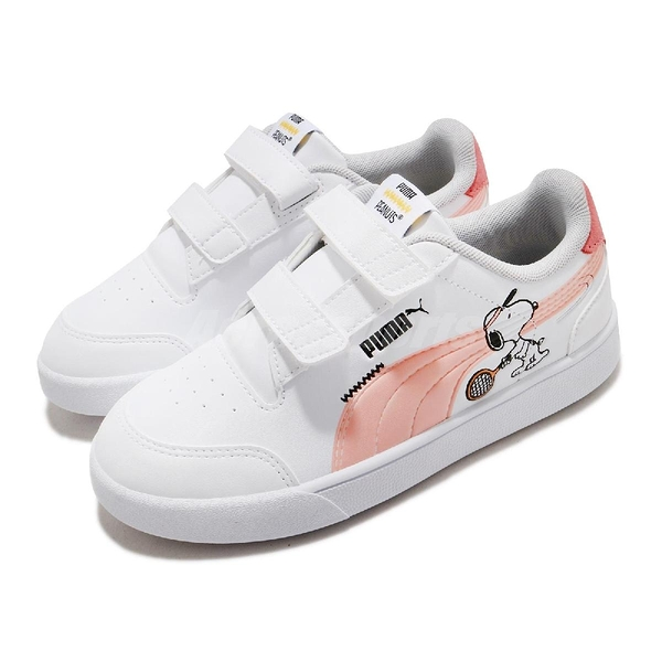 Puma 休閒鞋 PEANUTS Shuffle V PS 史努比 白 粉紅 童鞋 中童鞋 魔鬼氈 小朋友 【ACS】 37574002