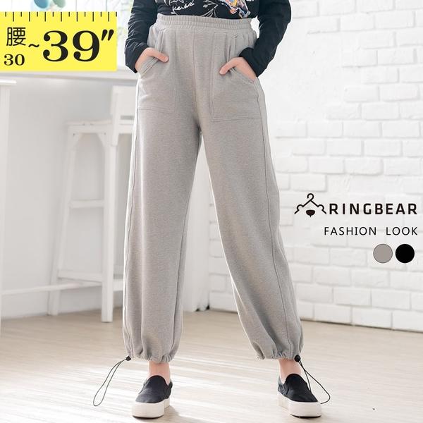 休閒褲--運動休閒鬆緊褲頭前大口袋抽繩下擺束腳寬鬆棉褲(黑.灰XL-3L)-P155眼圈熊中大尺碼