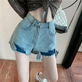 不規則a字牛仔短褲女2020夏季新款韓版顯瘦高腰寬管褲百搭熱褲薄14 幸福第一站