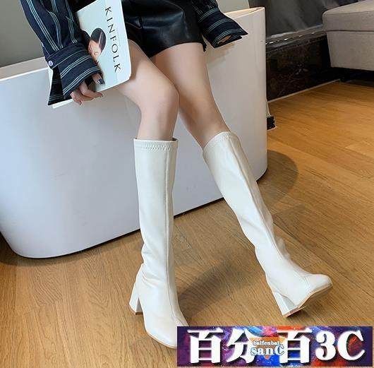 韓版高筒靴女不過膝長靴白色粗跟騎士靴ins方頭西部牛仔靴 百分百