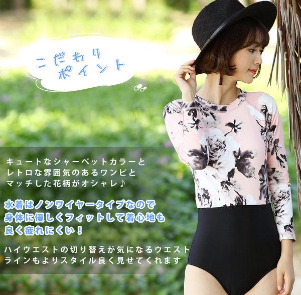 比基尼泳裝-日本品牌AngelLuna 現貨 復古風拉鍊假兩件高腰一件式溫泉沙灘泳衣