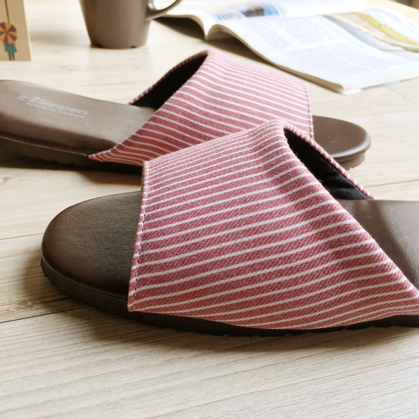 品味系列-布面皮質室內拖鞋-小日條紋-粉