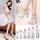 婚鞋女新款銀色高跟鞋結婚鞋子粗跟防水台女...