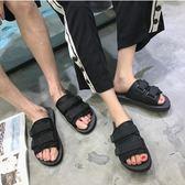 拖鞋男一字拖涼拖鞋情侶夏季涼鞋男防滑平底沙灘拖鞋男潮『潮流世家』