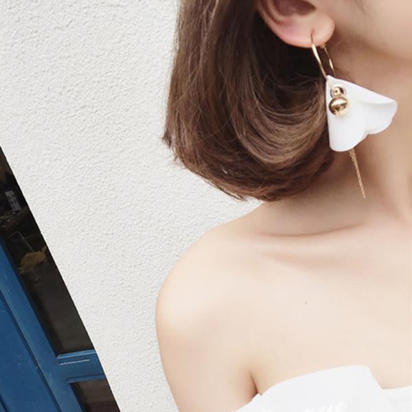 耳環 韓國小清新布藝花朵金屬流蘇鈴鐺球圓環耳環【1DDE0531】