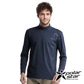 【PolarStar】男 高領保暖衣『黑藍』P20215 上衣 休閒 戶外 登山 吸濕排汗 透氣 長袖