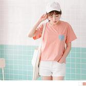 OrangeBear《AB3984》純色胸前口袋字母印花後背圖騰燙印柔綿圓領上衣.2色