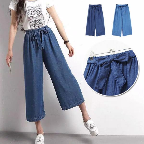 BOBO小中大尺碼【3107】鬆緊綁帶寬褲裙八分褲-共2色