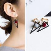 【NiNi Me】夾式耳環 簡約百搭三角形絲絨圓球無耳洞夾式耳環 夾式耳環 E0076