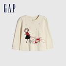 Gap女幼童 創意風格印花圓領長袖T恤 649440-米白色
