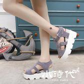 厚底涼鞋 夏季休閑松糕跟防水臺坡跟魚嘴中跟鞋潮
