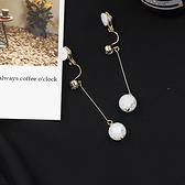 【NiNi Me】夾式耳環 閃亮冰雪圓球單鑽長款夾式耳環 夾式耳環 E0041