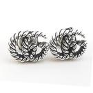 【奢華時尚】GUCCI 雙G造型旋轉雕花925純銀針式耳環
