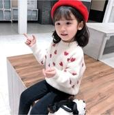 女童毛衣2019秋冬新款加厚保暖水貂絨兒童線衣寶寶套頭針織打底衫
