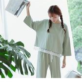 睡衣女春秋季韓版長袖寬鬆大碼家居服套裝