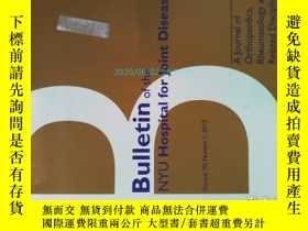 二手書博民逛書店Bulletin罕見of the NYU Hospital for Joint Diseases 1 2012關節