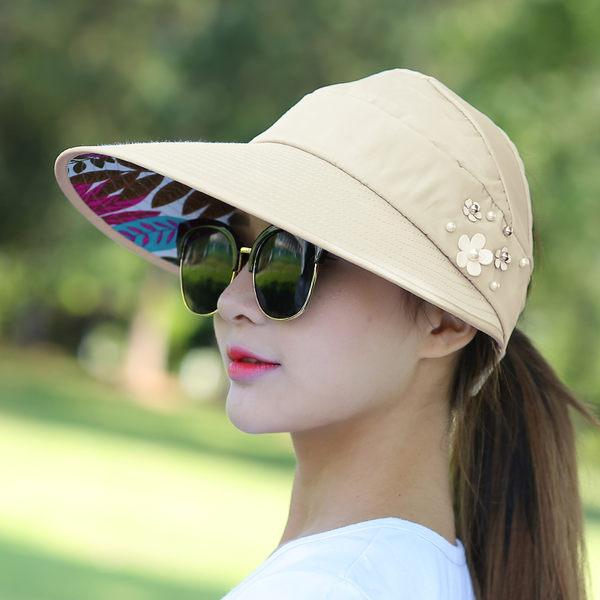 帽子女夏天休閒百搭出游防紫外線韓版夏季可折疊防曬太陽帽遮陽帽