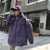棒球服女bf新款韓版學院風寬鬆工裝原宿風學生連帽口袋夾克短外套 全館免運