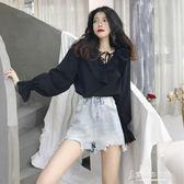 秋裝女裝韓版時尚花邊甜美系帶荷葉邊V領雪紡衫長袖襯衫上衣 東京衣秀