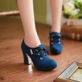 裸靴[32~43]名媛粗高跟防水台高跟鞋大碼粗跟女鞋繫帶女單鞋 - 古梵希