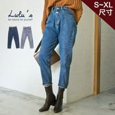 LULUS-Q雙釦後鬆緊牛仔直筒褲S-XL-2色  現+預【04011352】