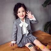 女童西裝套裝秋裝格子短裙兩件套春秋中大童套裝【淘嘟嘟】