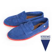 【VERBENAS】Tabarca塔巴卡牛皮樂福草編鞋/男仕休閒鞋  藍色(114-NA)